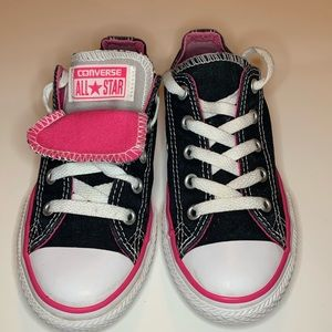 Converse all stars size 13 black with pink tongue